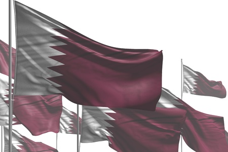 wonderful day of flag 3d illustration - many Qatar flags are waving isolated on white Stock Illustration - 121040476