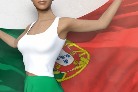 cute girl in bright skirt is holding Portugal flag in her hands behind her on the white background - flag concept 3d illustration Banco de Imagens