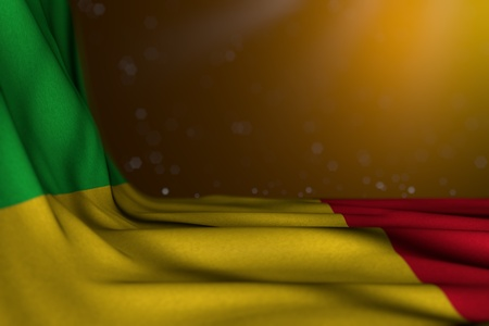 nice dark image of Mali flag lying flat diagonal on yellow background with selective focus and free space for text - any feast flag 3d illustration