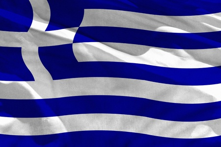 Fluttering Greece flag for using as texture or background, the flag is waving on the wind Stock Photo