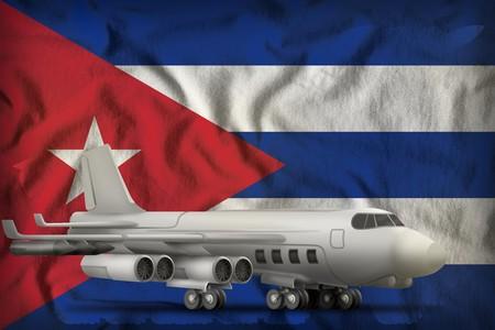 bomber on the Cuba flag background. 3d Illustration