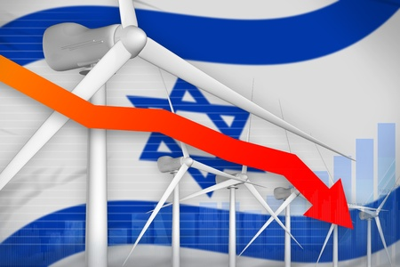 Israel wind energy power lowering chart, arrow down  - renewable energy industrial illustration. 3D Illustration