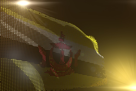 wonderful memorial day flag 3d illustration  - digital image of Brunei Darussalam flag made of dots waving on yellow with empty space for your content Stock Photo
