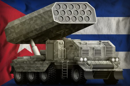 rocket artillery, missile launcher with grey camouflage on the Cuba flag background. 3d Illustration