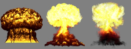 3 huge very high detailed different phases mushroom cloud explosion of hydrogen bomb with smoke and fire isolated on grey - 3D illustration of explosion Banque d'images - 121477015
