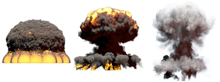 3 huge different phases fire mushroom cloud explosion of atom bomb with smoke and flames isolated on white - 3D illustration of explosion