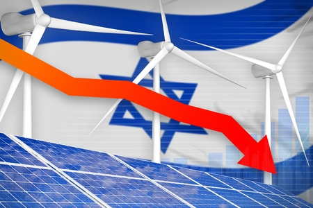 Israel solar and wind energy lowering chart, arrow down  - environmental energy industrial illustration. 3D Illustration Stok Fotoğraf