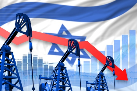 Israel oil industry concept, industrial illustration - lowering, falling graph on Israel flag background. 3D Illustration
