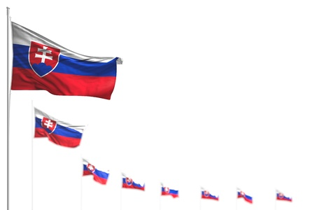 wonderful memorial day flag 3d illustration  - Slovakia isolated flags placed diagonal, photo with selective focus and space for content Фото со стока