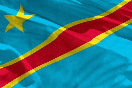Fluttering Democratic Republic of Congo flag for using as texture or background, the flag is waving on the wind