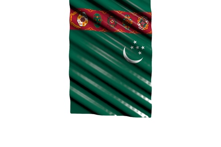 beautiful shining flag of Turkmenistan with big folds hangs from top isolated on white - any celebration flag 3d illustration