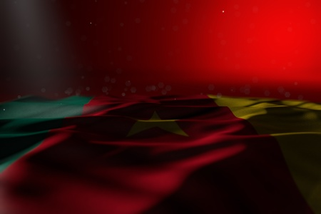 cute dark photo of Cameroon flag lying flat on red background with soft focus and free place for content - any occasion flag 3d illustration