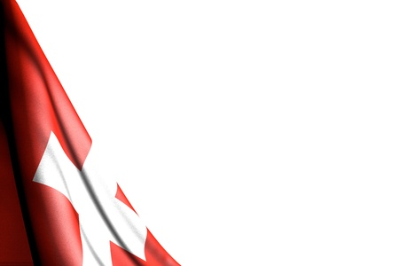 beautiful isolated picture of Switzerland flag hanging diagonal - mockup on white with space for content - any holiday flag 3d illustration