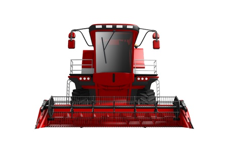 big beautiful red rye agricultural combine harvester front view isolated on white - industrial 3D illustration