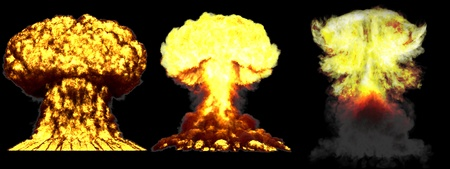 3 huge very detailed different phases mushroom cloud explosion of nuclear bomb with smoke and fire isolated on black - 3D illustration of explosion