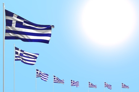 nice memorial day flag 3d illustration  - many Greece flags placed diagonal on blue sky with space for your content