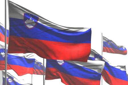 cute many Slovenia flags are wave isolated on white - any celebration flag 3d illustration 스톡 콘텐츠