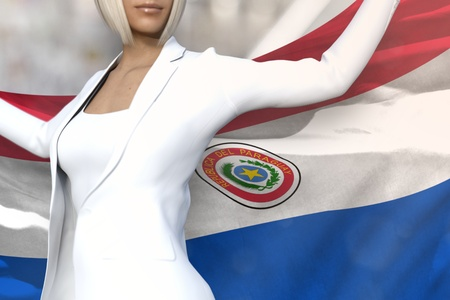 young business lady is holding Paraguay flag in her hands behind her on the office building background - flag concept 3d illustration