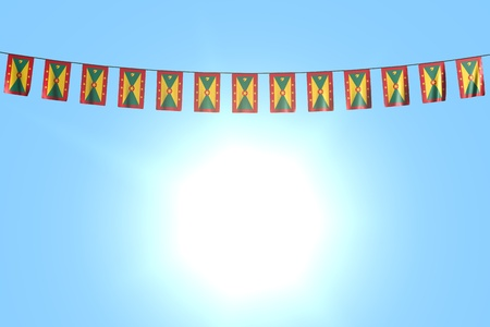 pretty any occasion flag 3d illustration - many Grenada flags or banners hangs on rope on blue sky background