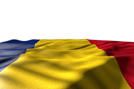beautiful mockup image of Romania flag lying flat with perspective view isolated on white with place for your content - any celebration flag 3d illustration