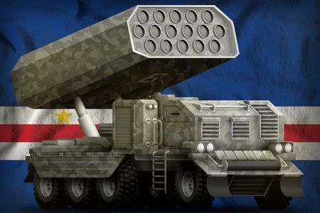 rocket artillery, missile launcher with grey camouflage on the Cabo Verde flag background. 3d Illustration