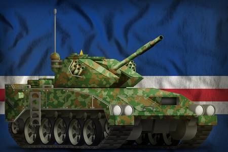 light tank apc with summer camouflage on the Cabo Verde flag background. 3d Illustration Reklamní fotografie