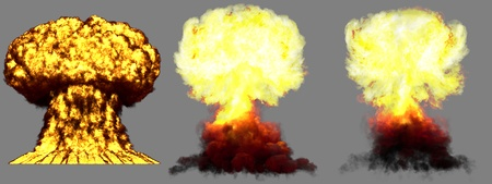 3 large highly detailed different phases mushroom cloud explosion of nuke bomb with smoke and fire isolated on grey - 3D illustration of explosion