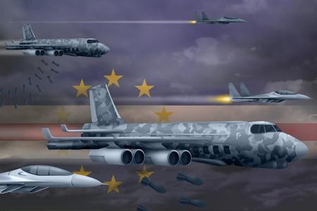 Cabo Verde bomb air strike concept. Modern Cabo Verde war airplanes bombing on flag background. 3d Illustration