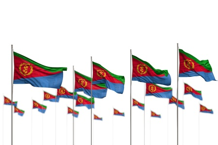 wonderful anthem day flag 3d illustration  - Eritrea isolated flags placed in row with soft focus and space for your content