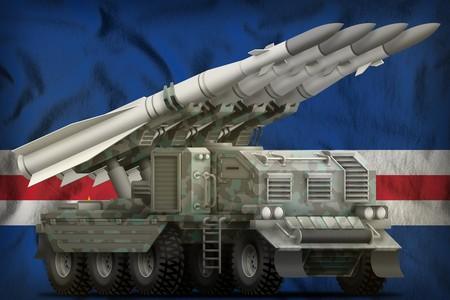 tactical short range ballistic missile with arctic camouflage on the Cabo Verde flag background. 3d Illustration