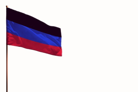 Fluttering Donetsk Peoples Republic flag isolated, mockup with the place for your text on white background.