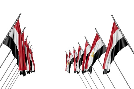 cute any feast flag 3d illustration  - many Egypt flags hangs on diagonal poles from left and right sides isolated on white
