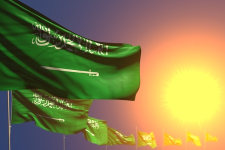 nice many Saudi Arabia flags on sunset placed diagonal with bokeh and place for text - any feast flag 3d illustration