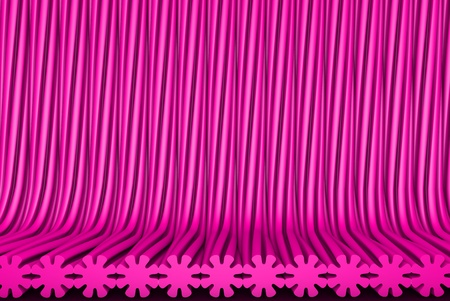 sci-fi pink 3D Illustration of abstract background - volumetric surfaces formed by extruded flower shape, holiday concept