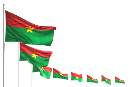 pretty Burkina Faso isolated flags placed diagonal, photo with bokeh and space for your content - any occasion flag 3d illustration Archivio Fotografico