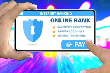 internet online banking technology concept - hand with smartphone tapping the button pay on neon city lights background