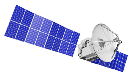 Industrial illustration of space satellite with big solar power panels isolated on clear white background - 3D Illustration