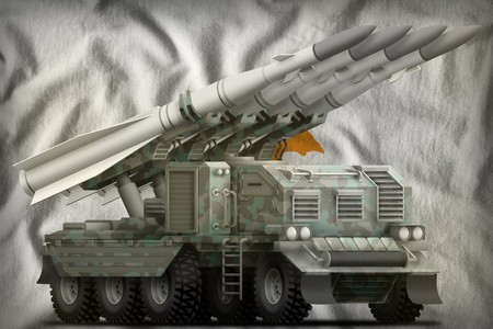 tactical short range ballistic missile with arctic camouflage on the Cyprus flag background. 3d Illustration