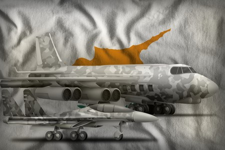 air forces with grey camouflage on the Cyprus flag background. Cyprus air forces concept. 3d Illustration