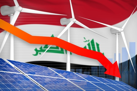 Iraq solar and wind energy lowering chart, arrow down  - alternative energy industrial illustration. 3D Illustration