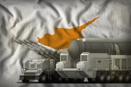 rocket forces on the Cyprus flag background. Cyprus rocket forces concept. 3d Illustration