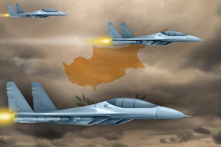 Cyprus air strike concept. Modern war airplanes attack on Cyprus flag background. 3d Illustration