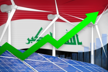 Iraq solar and wind energy rising chart, arrow up  - modern energy industrial illustration. 3D Illustration Imagens