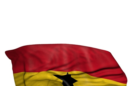 pretty anthem day flag 3d illustration  - Ghana flag with large folds lay in the bottom isolated on white Stok Fotoğraf