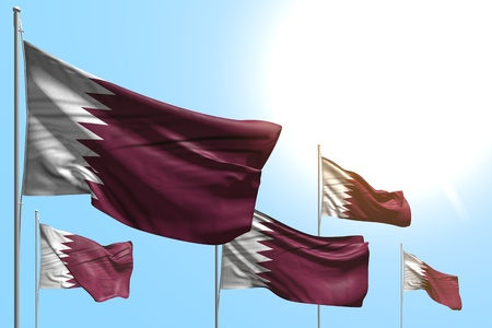 wonderful independence day flag 3d illustration  - 5 flags of Qatar are wave on blue sky background