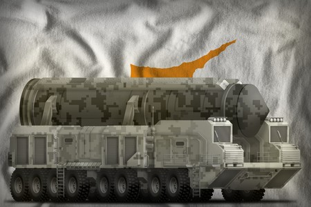 intercontinental ballistic missile with city camouflage on the Cyprus flag background. 3d Illustration