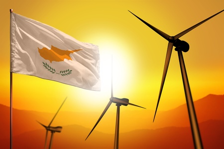 Cyprus wind energy, alternative energy environment concept with turbines and flag on sunset - alternative renewable energy - industrial illustration, 3D illustration