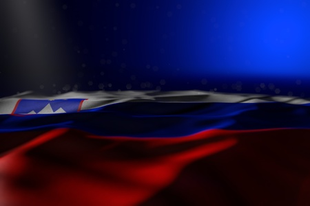 cute labor day flag 3d illustration  - dark photo of Slovenia flag lie on blue background with bokeh and free space for content