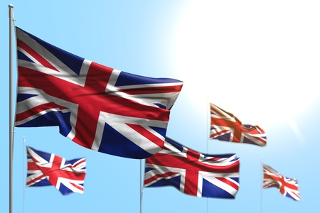 beautiful 5 flags of United Kingdom (UK) are waving against blue sky illustration with selective focus - any celebration flag 3d illustration