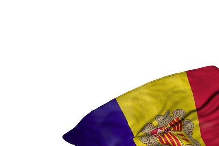 cute Andorra flag with large folds lying flat in bottom right corner isolated on white - any celebration flag 3d illustration Stok Fotoğraf